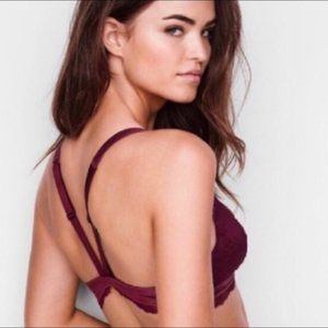NWT VS Chantilly Lace Front Close Burg Bralette, M